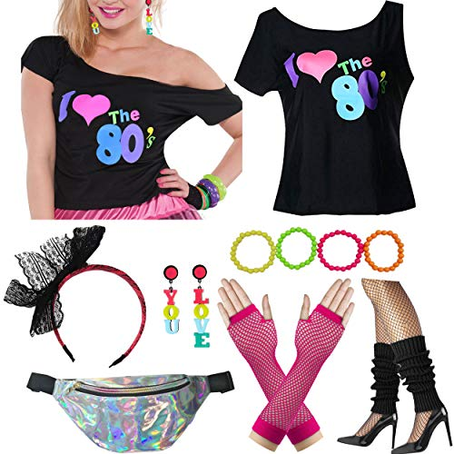 (Dancing Stone Womens 80s T-Shirt Wild Fanny Pack Bag Plus Size Costume Outfit Accessory (Black,)
