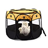 XianghuangTechnology Pet Portable Foldable Playpen, Dog/Cat/Puppy Exercise pen Kennel, Removable Mesh Shade Cover