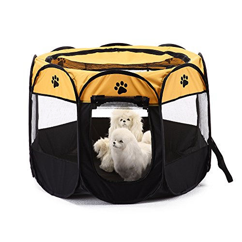 Cheap  XianghuangTechnology Pet Portable Foldable Playpen, Dog/Cat/Puppy Exercise pen Kennel, Removable Mesh Shade..
