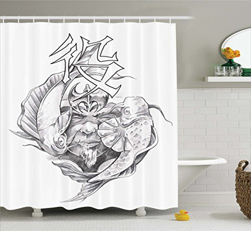Ambesonne Tattoo Decor Shower Curtain by, Ancient Tribal Unicorn Icon with Human Face and Koi Fish Chinese Dragon Art, Fabric Bathroom Decor Set with Hooks, 84 Inches Extra Long, Grey White ()