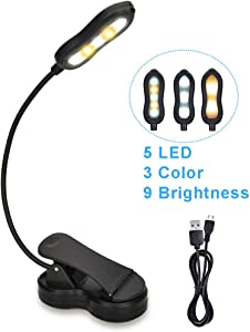 Rechargeable Book Light, 5 LED Clip on Reading Light for Book in Bed, 3 Color × 3 Brightness, Up to 60 Hours Eye Care Reading, Warm & White, Perfect for Kids, Bed Headboard & Travel