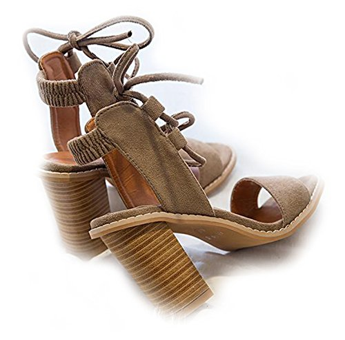 Olive Tayl Sexy Women Pumps Open Toe Lace up Heels Sandals Woman Sandals Thick With Women Shoes Women High Heels Light Tan 6