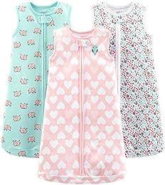 Baby Girls 3-Pack Cotton Sleeveless Sleepbag