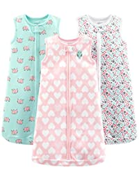 Simple Joys by Carter's Baby Girls' 3-Pack Cotton Sleeveless Sleepbag