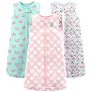 Simple Joys by Carter's Baby Girls' 3-Pack Cotton Sleevless Sleepbag, Pink Heart, Floral, Mint Elephants, 0-3 Months