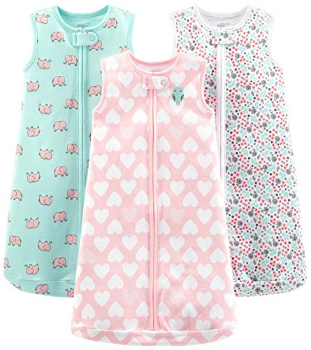 - Simple Joys by Carter's Baby Girls' 3-Pack Cotton Sleeveless Sleepbag, Pink Heart, Floral, Mint Elephants, 6-9 Months