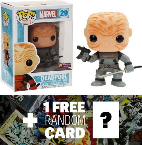 Unmasked Deadpool - Gray X-Force Suit (Preview Exclusive): Funko POP! x Marvel Universe Vinyl Bobble-Head Figure + 1 FREE Official Marvel Trading Card Bundle [32603]