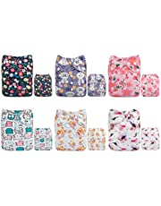 ALVABABY Cloth Diaper Reusable Washable Adjustable Newborn Infant Toddler Baby Boy Girl 6 Nappies With 12 Inserts 6DM37