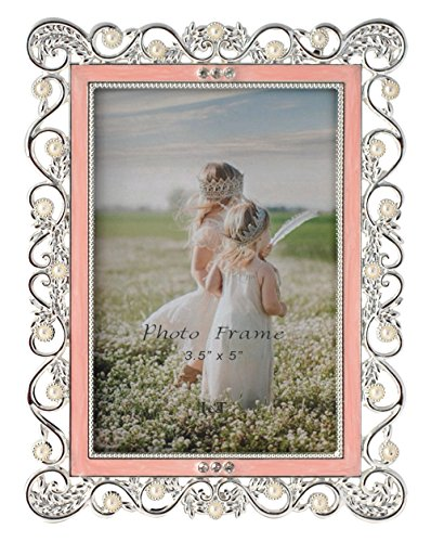 (L&T Ornate Metal Picture/Photo Frame Silver Plated with Pink Enamel, Pearls and Crystals 3.5 x 5 Inch)