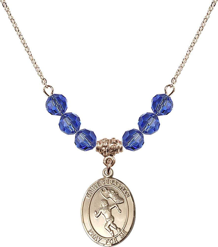 Bonyak Jewelry 18 Inch Hamilton Gold Plated Necklace w// 6mm Blue September Birth Month Stone Beads /& Saint Sebastian//Track/&Field-Women