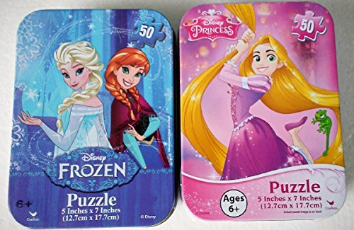 Mini Puzzles in Travel Tin Cases: Frozen Snow Queen Elsa and Anna - Princess Tangled Rapunzel (50 Pieces Each) Disney Girls Collectible Bundle Set of 2
