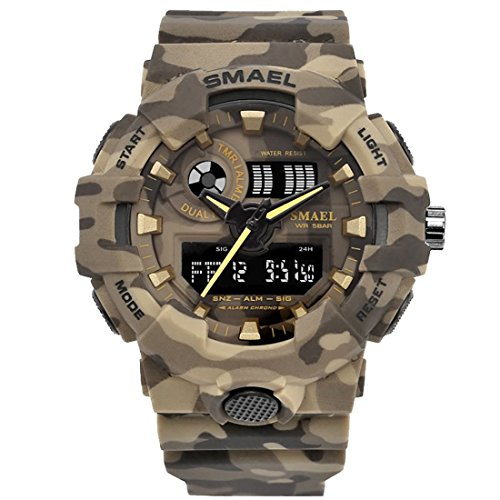 Price comparison product image SMAEL Camouflage Military Watch Sport Watches LED Digital Clock Dual Time Wristwatch Mens Army Watch (Khaki)