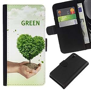 Ihec-Tech / Flip PU Cuero Cover Case para Sony Xperia Z3 D6603 / D6633 / D6643 / D6653 / D6616 - Love Nature Tree Heart