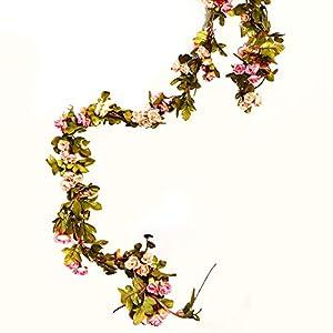 LI HUA CAT 2 pcs Artificial 60 Heads Rose Vine Garland Artificial Flowers Plants for Wedding Home Party Garden Craft Art Decor 113