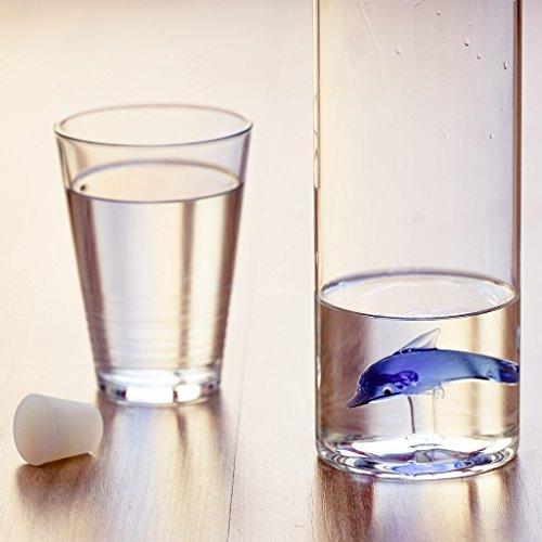 Balvi - Dolphin Botella de Vidrio para Agua. Contiene la Figura de un delfín. Incluye un tapón de Silicona.: Amazon.es: Hogar