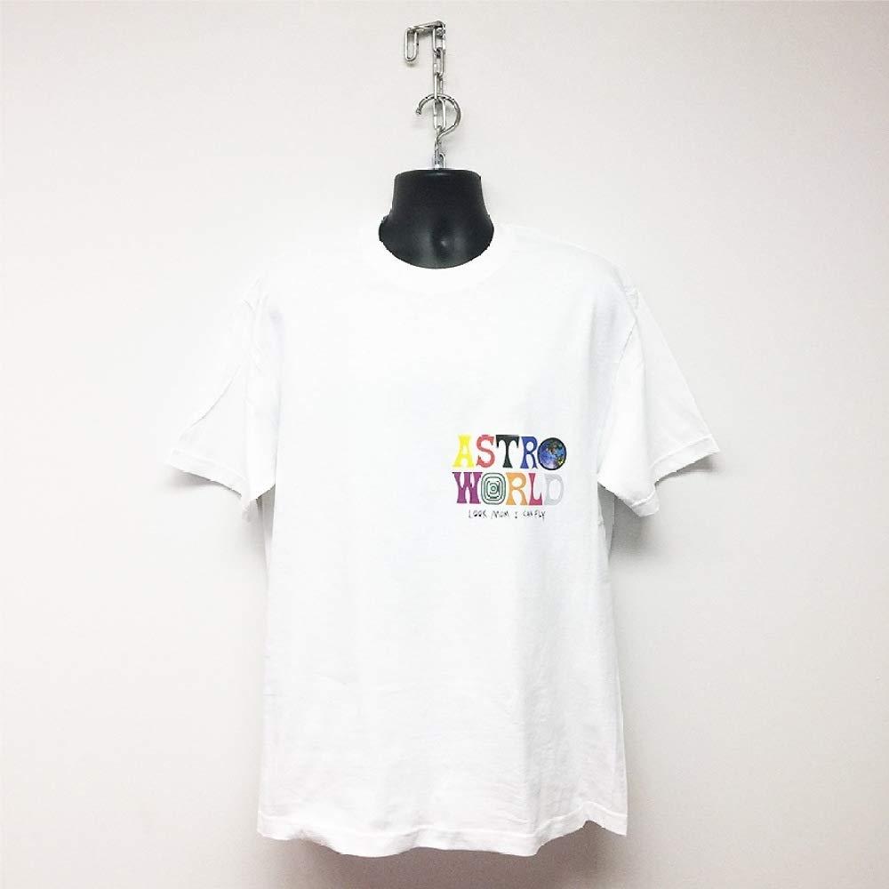 Astroworld M/úsica Doble Cara Impresi/ón Camiseta Regalo Corriendo Lindo Moda Tee Logo Manga Corta Capa//blanco//Xl