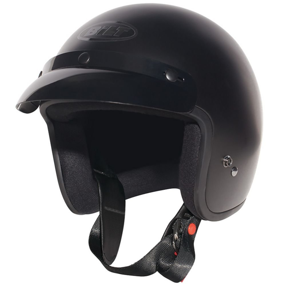 CUSTOM BILT Jet Open-Face Motorcycle Helmet - MD, Matte Black