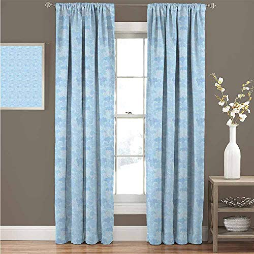 HouseLook Vintage Blue UV Protection Blackout Curtain Cloudy Sky Pattern in Chinese Style with Swirls and Spirals Artistic Ornament Curtains Prevent UV Rays W97 x L108 Inch Pale Blue