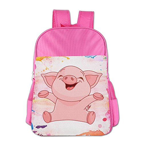 Cute Pig Happy Pink Piggy Cute Boys And Girls School Bags, Child Bookbag School Backpacks For 4-15 Years Old