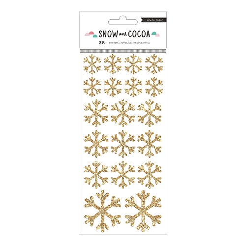 American Crafts 375889 Snowflakes Crate Paper Snow Cocoa Gold Glitter Snowflake Stickers 2 Sheet 38 Piece by American Crafts