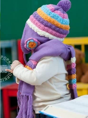 Winter Warm Cute Baby Infant Kids Girls Caps,Pineapple flower hat+scarf,pink