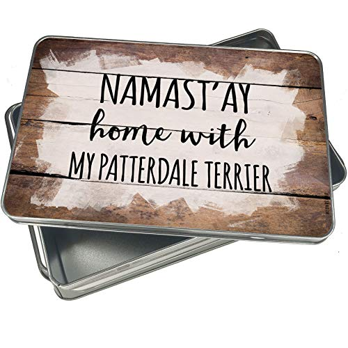 NEONBLOND Cookie Box Namast'ay Home With My Patterdale Terrier Simple Sayings Christmas Metal Container