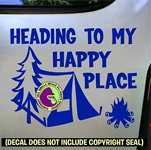 The Gorilla Farm HAPPY PLACE CAMPING Camper Hiking Hiker Tent Thru Wilderness Backpacker Vinyl Decal Bumper Sticker Laptop Window Car Wall Sign BLUE