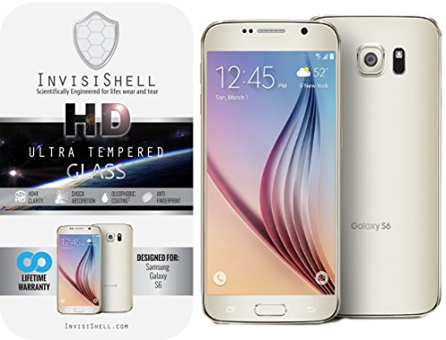 Protective Shield (Samsung Galaxy S6 Ultra Tempered Glass Screen Protector | Ballistic Slim Anti Scratch Shield w/ Full HD Clarity | Better Cell Phone Accessories by InvisiShell)