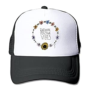 ZMvise Unisex Flower Good Vibes Radiate Positive Quote Custom Printed Cute Baseball Cap Trucker Mesh Hat