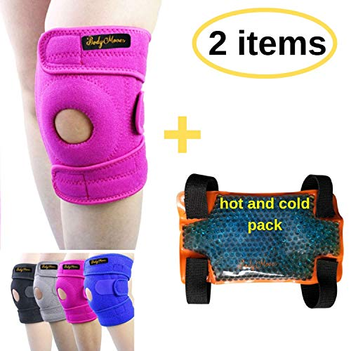 BodyMoves Kid's Knee Brace Support Plus Hot and Cold Ice Pack (Sweet Pink)