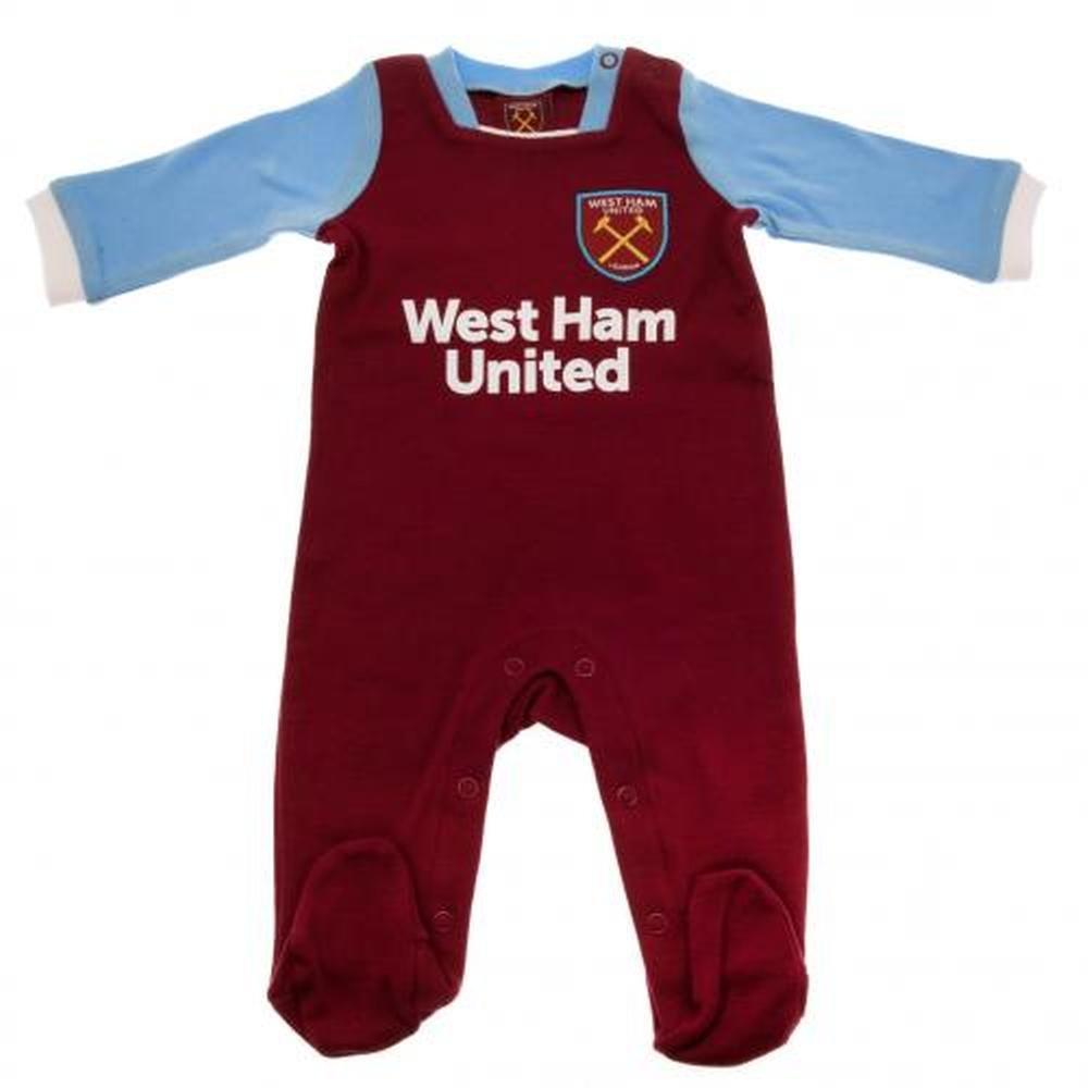 WEST HAM UNITED FC FOOTBALL BABY 3-6 MONTHS SLEEPSUIT / PYJAMA / BABYGROW HOME KIT AUTHENTIC WEST HAM FC
