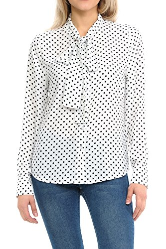 Sweethabit Women's Woven Long Sleeve Blouse With Front Bow - Made In USA (Medium, BE1051 White)