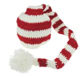 Baby Girls Boys Striped Wee Willie Winkie Crochet Hat Photography Prop New-born to 9 Months (White Red)