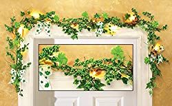 6 Ft Long LED Lighted St Patrick's Day Berries Bow Shamrock Clover Garland