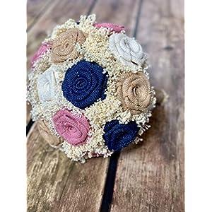 Burlap,Navy,Blush, Ivory Wedding Bouquets (Choose Bridesmaids + Bridals) Rustic Bouquets, Burlap Bouquets, Rustic Wedding Bouquets, Burlap Wedding Bouquets, Bouquets 76