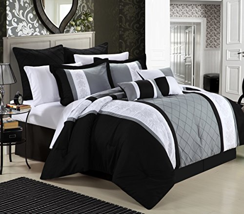 Chic Home Livingston 12-Piece Embroidered Comforter Set Complete Embroidery Pattern Bed in a Bag with Sheet Set Bed Skirt and Decorative Pillows Shams, King Black ()