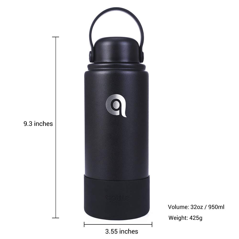 Sports Water Bottle with Silicone Sleeve Boot for Hot Coffee or Cold Beverages AIRSEE 32oz Vacuum Insulated Stainless Steel Water Bottle Wide Mouth Water Bottle with Standard Loop Lid