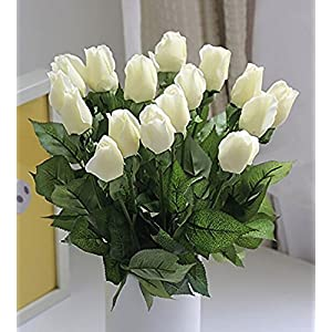 iMeshbean 10 PCS Real Latex Touch White Rose Flowers Wedding And Home Decor (10Pcs,White) 21