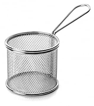 Servir Freidora con cesta Mini acero inox. 9x7cm rendondo Freír Canasto Canasta Plato de patatas fritas: Amazon.es: Hogar