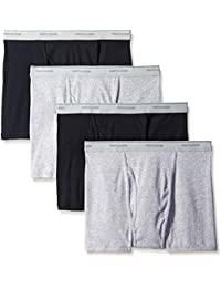 Fruit of the Loom mens 4-pack Black and Gray Short Leg Boxer Brief - Extended Sizes