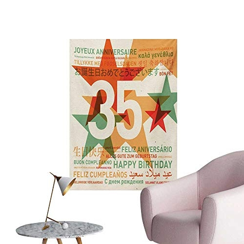 (Anzhutwelve 35th Birthday Wallpaper Stars and Greetings in Different Languages Old Fashioned Style Backdrop ImageMulticolor W32 xL36 Funny)