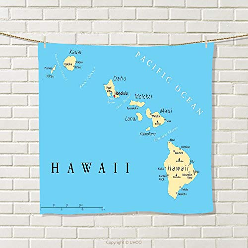 smallbeefly Hawaiian Decorations Hand Towel Map of Hawaii Islands with Capital Honolulu Borders Quick-Dry Towels Important Cities and Volcanoes Size: W 20