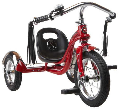 Schwinn Roadster Tricycle with Classic Bicycle Bell and Handlebar Tassels, Featuring Retro Steel Frame and Adjustable Seat, for Children and Kids Ages 2-4 Years Old, Red (Big Trike)