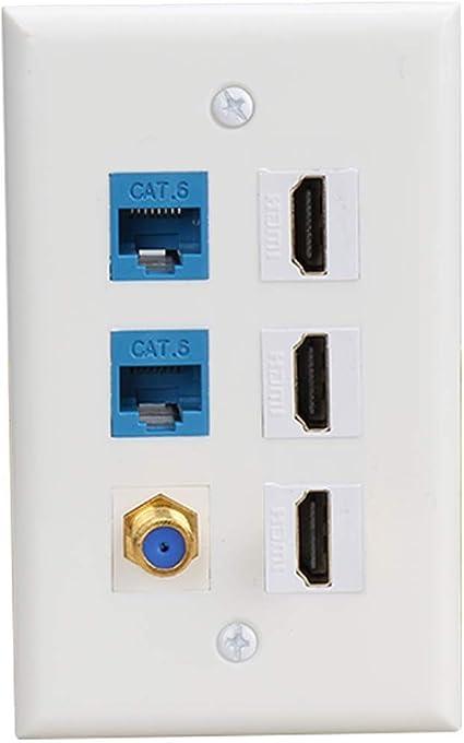 - 4 Port HDMI 1 Coax White 2 Cat6 Ethernet HDMI Wall Plate 4 Port HDMI Ethernet Coax Cable TV F-Type Wall Plate