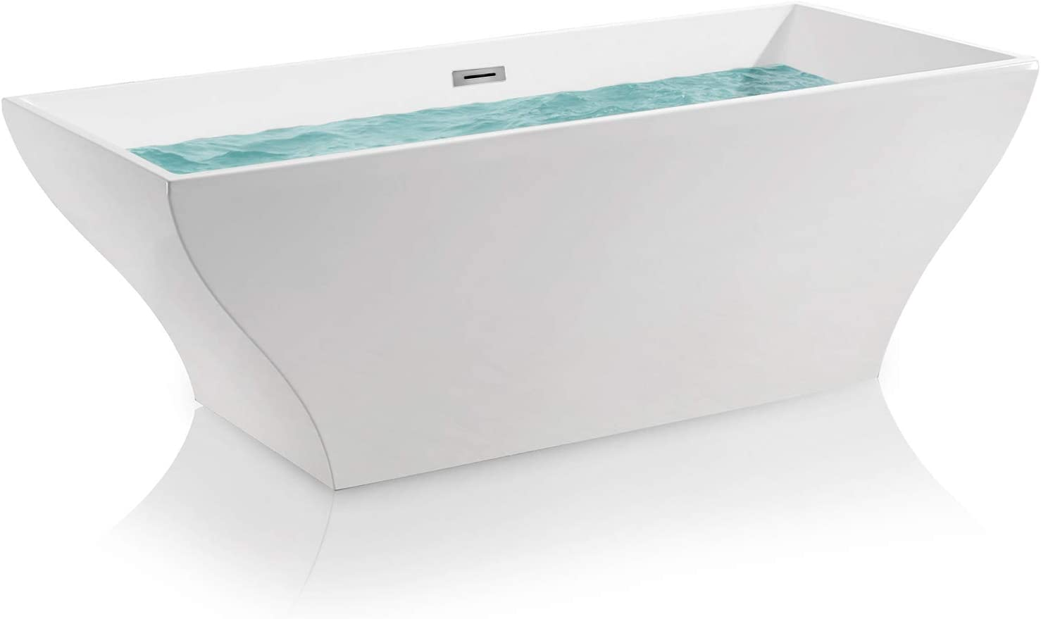 AKDY 67 Bathroom Acrylic Smooth White Color Freestanding Bathtub w Overflow