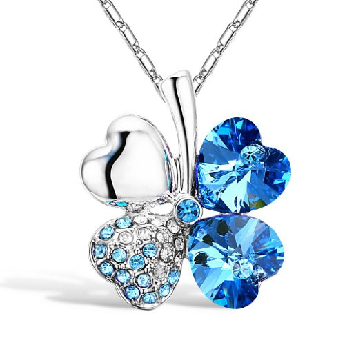 Merdia Four Leaf Clover Heart-shaped Crystal Pendant Necklace 16