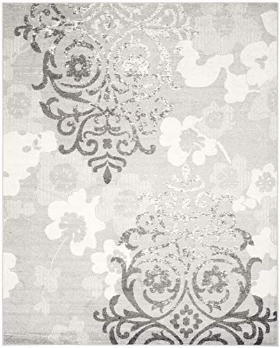 Safavieh Adirondack Collection ADR114B Silver and Ivory Contemporary Chic Damask Area Rug 10' x 14'
