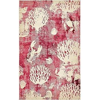 Amazon Com Ab 5x8 Pink Ivory Seashell Area Rug Rectangle