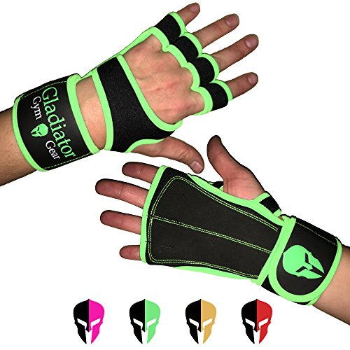 Neoprene CROSS TRAINING GLOVES with built in WRIST WRAP & full LEATHER PALM protection NON SLIP grip. G3 Workout Gloves for WOD WEIGHTLIFTING PULLUPS KETTLEBELLS DUMBBELLS (Green, ()