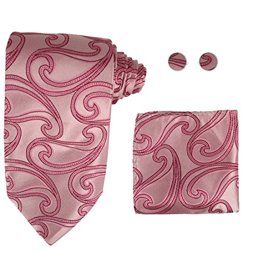 Designer Inspired Red Paisleys 100% Jacquard Woven Silk Tie Hanky Mens Pink Pattern Necktie and Cuff Links Cufflinks And Handkerchiefs Set With Presentation Box H5030 148cm*9cm Pink